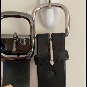 Belts, 2 black leather, one dressy, one rugged